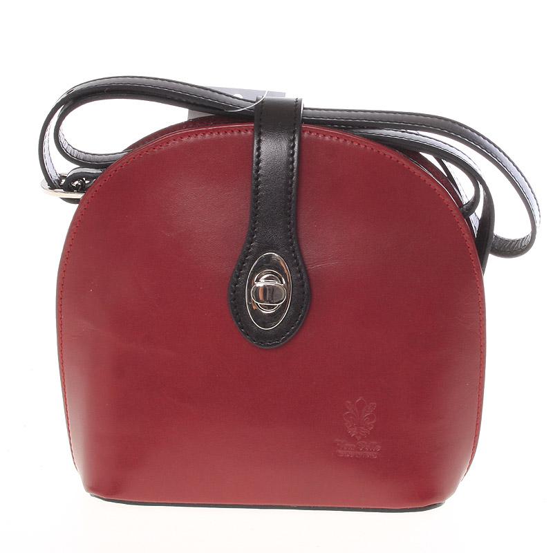 Malá dámská červeno černá kožená crossbody kabelka - ItalY Zerena