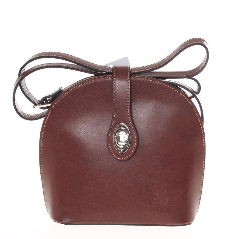 Malá dámská hnědá kožená crossbody kabelka - ItalY Zerena