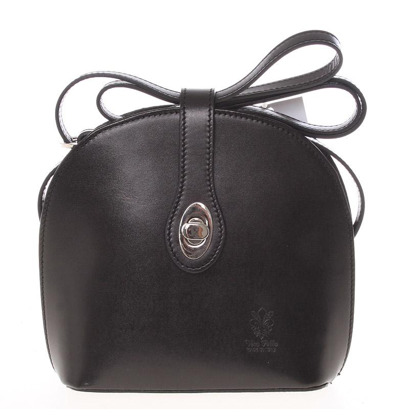Malá dámská černá kožená crossbody kabelka - ItalY Zerena