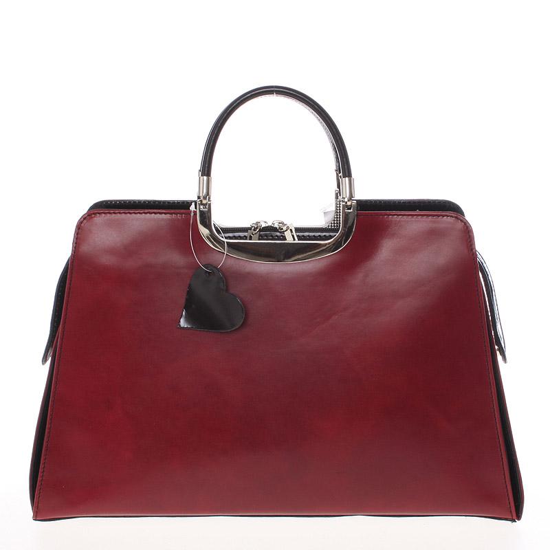 Dámská větší červeno černá kožená společenská kabelka - ItalY Yanny