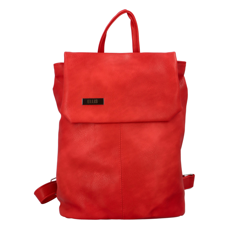 Větší měkký dámský moderní červený batoh - Ellis Elizabeth