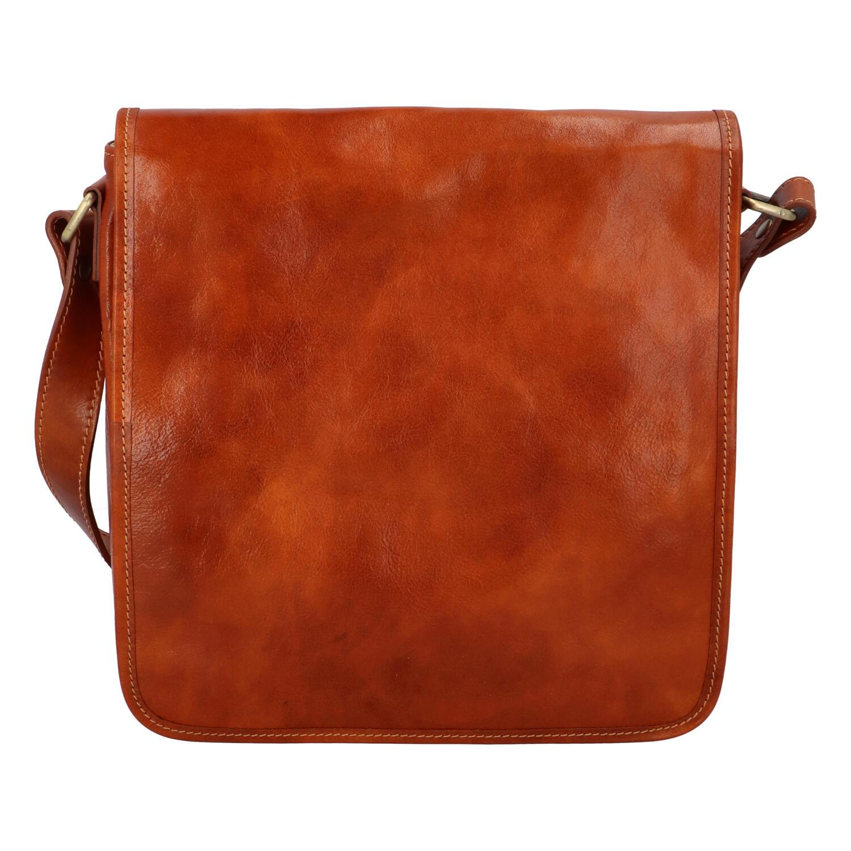Pánská luxusní kožená taška přes rameno koňaková - ItalY Jamar