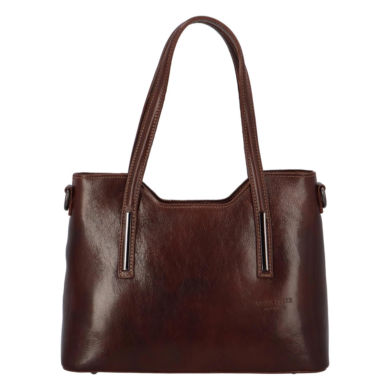 Střední kožená kabelka tmavě hnědá - ItalY Chevell EX