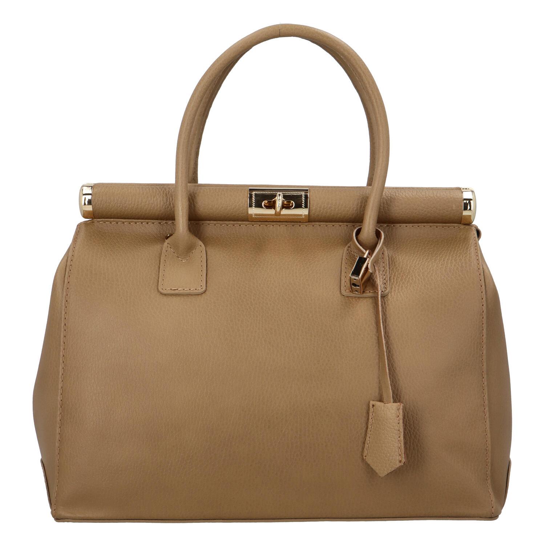 Módní originální dámská kožená kabelka do ruky tmavě béžová - ItalY Hila