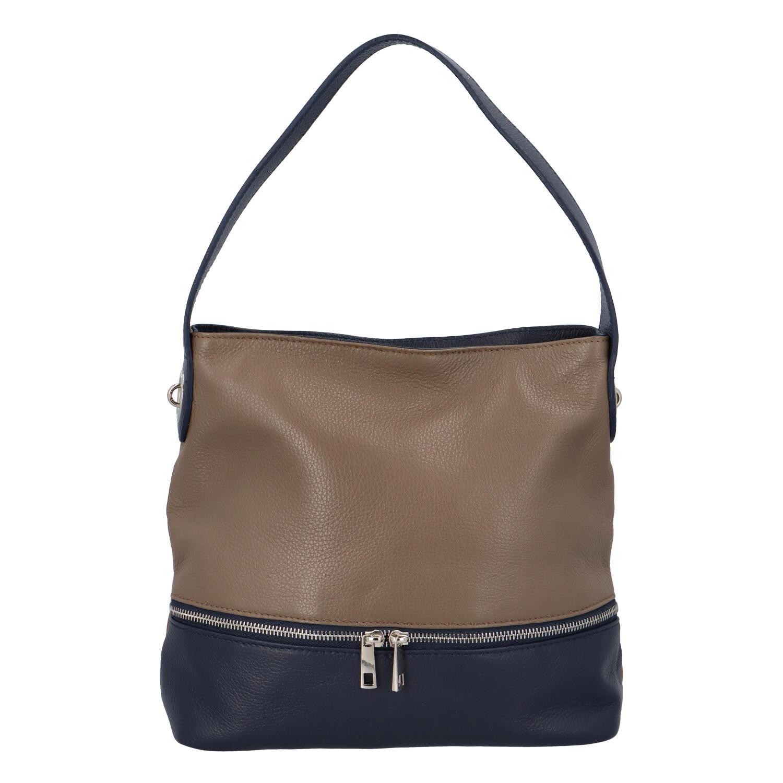 Dámská kožená kabelka přes rameno khaki - ItalY Miriam
