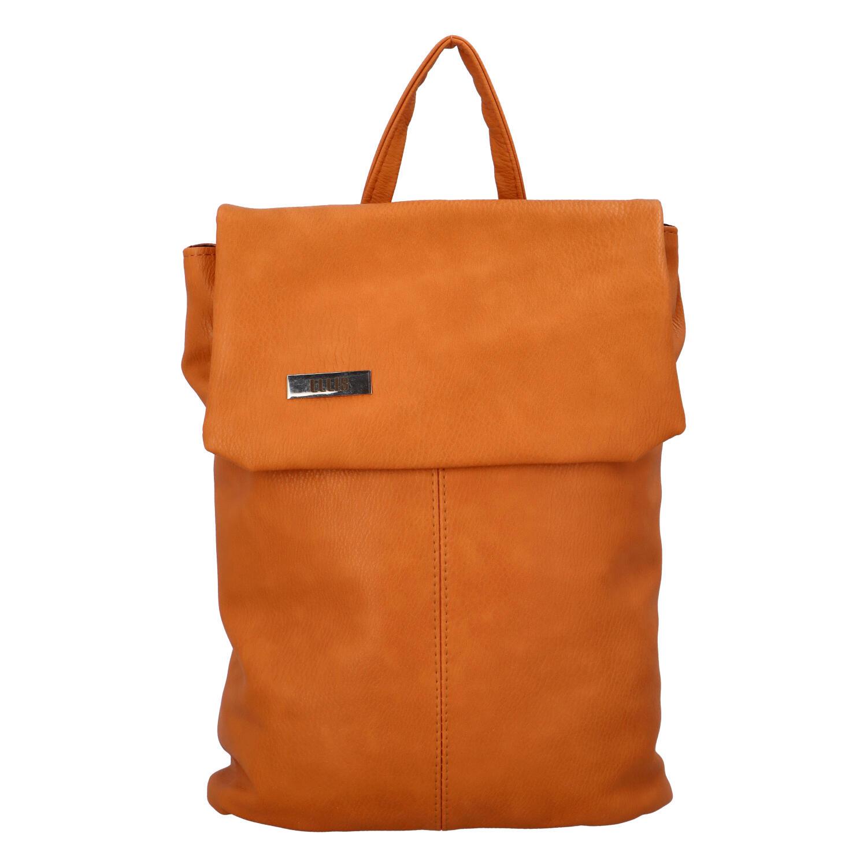 Větší měkký dámský moderní oranžový batoh - Ellis Elizabeth JR