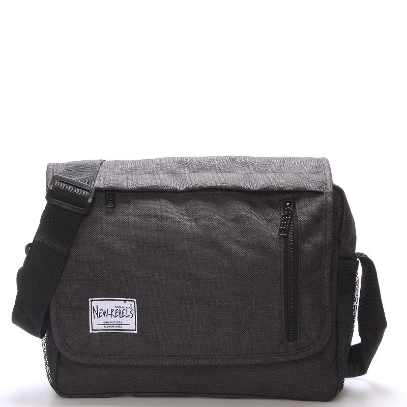 Unisex látková černá crossbody taška - New Rebels Rebton
