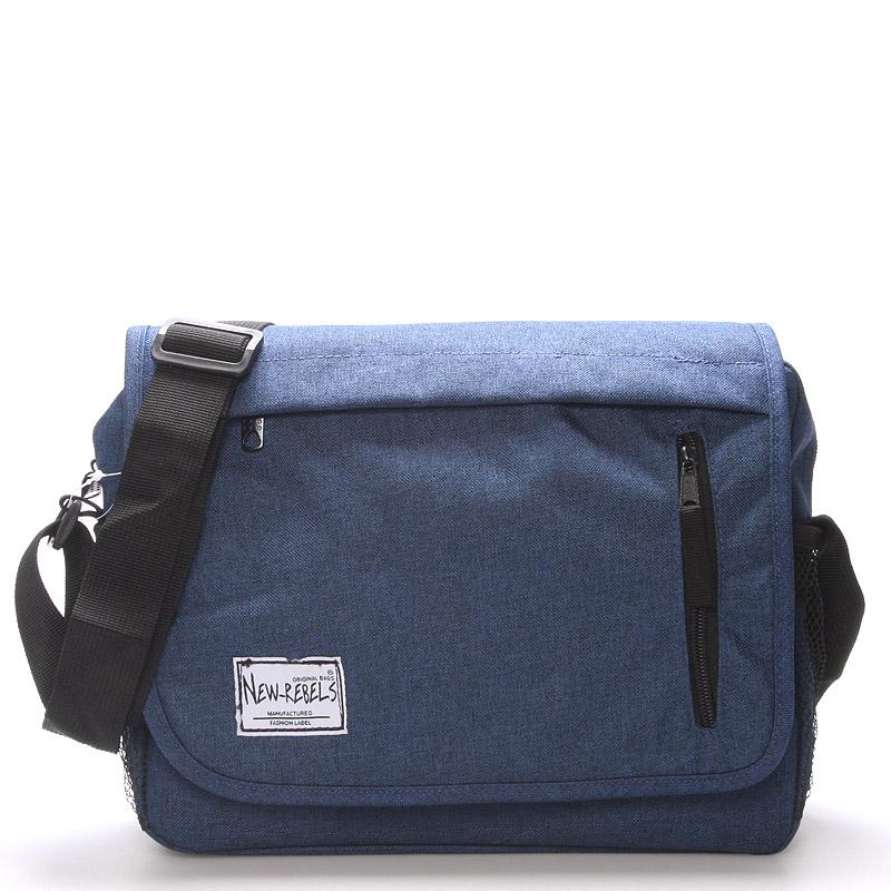 Unisex látková modrá crossbody taška - New Rebels Rebton