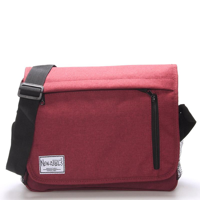 Unisex látková ccrossbody červená taška - New Rebels Rebton