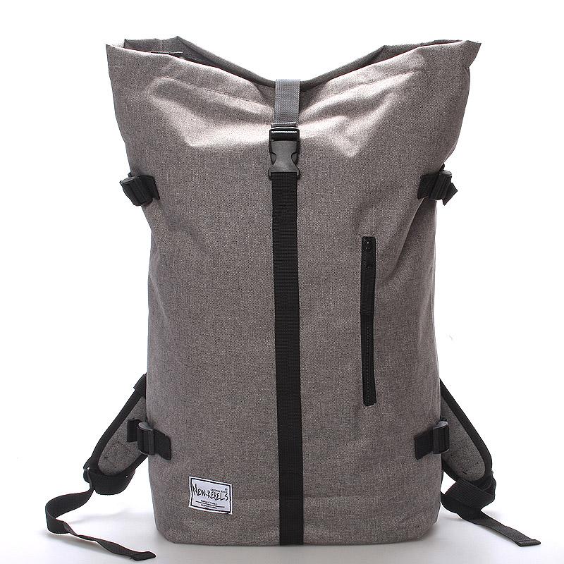 Jedinečný velký stylový unisex batoh šedý - New Rebels Rebback