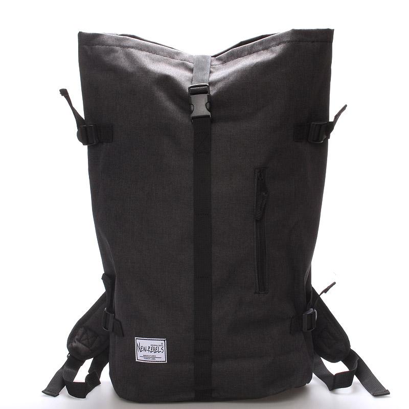 Jedinečný velký stylový unisex batoh černý - New Rebels Rebback