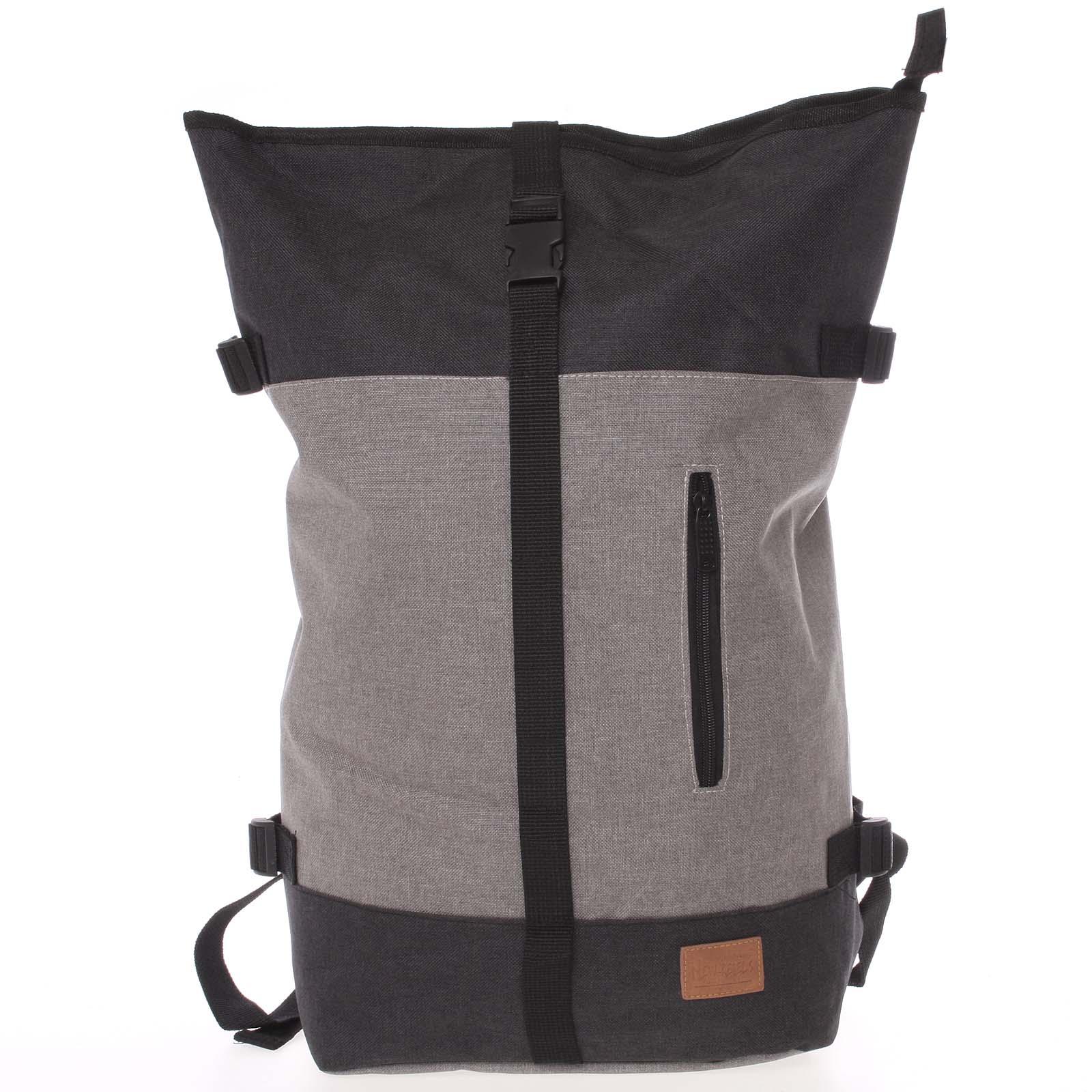 Jedinečný velký stylový unisex batoh šedočerný - New Rebels Rebback