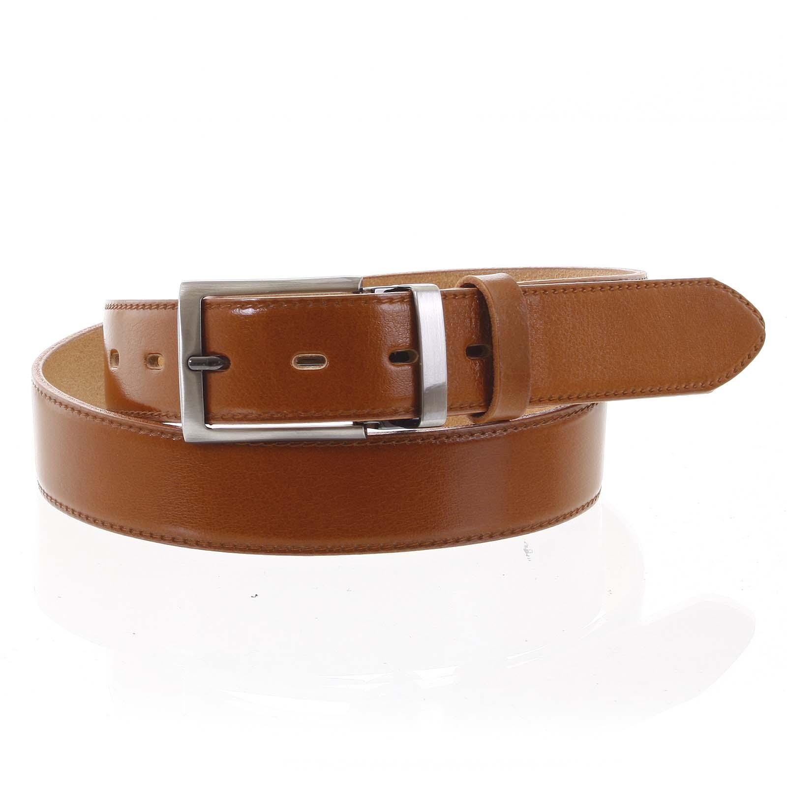 Pánský kožený opasek oblekový koňak - PB Reph 95