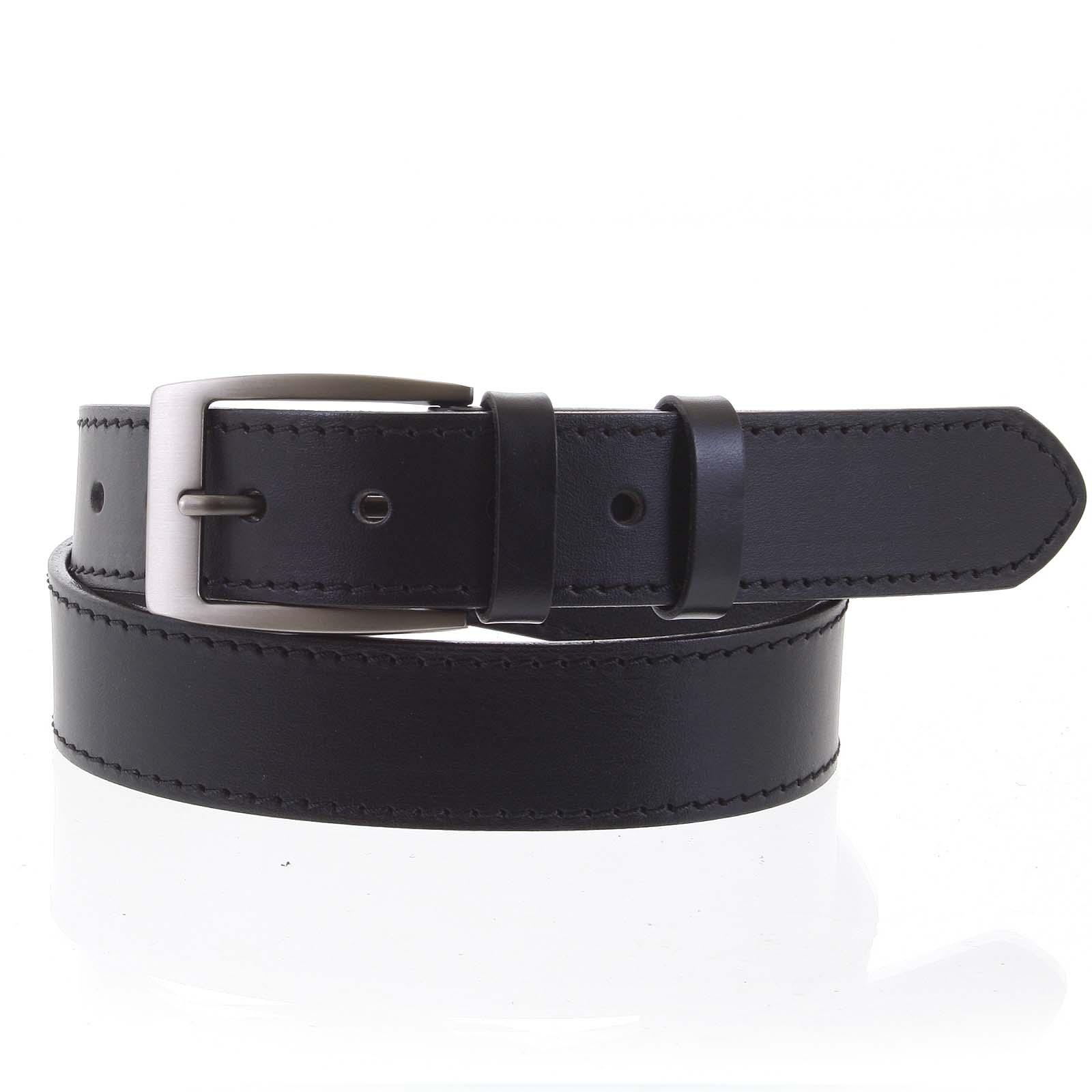 Pánský kožený opasek jeansový černý - PB Adami 115