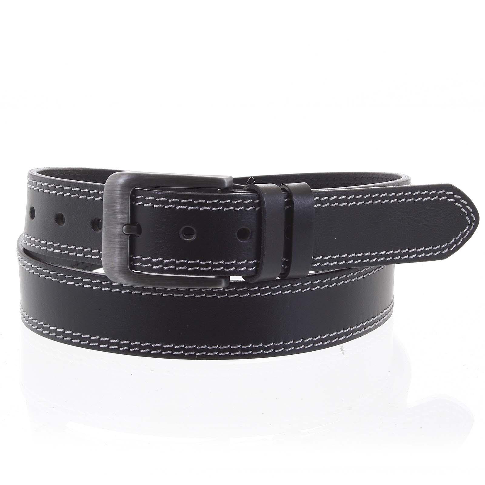 Pánský kožený opasek jeansový černý - PB Sadoc 115