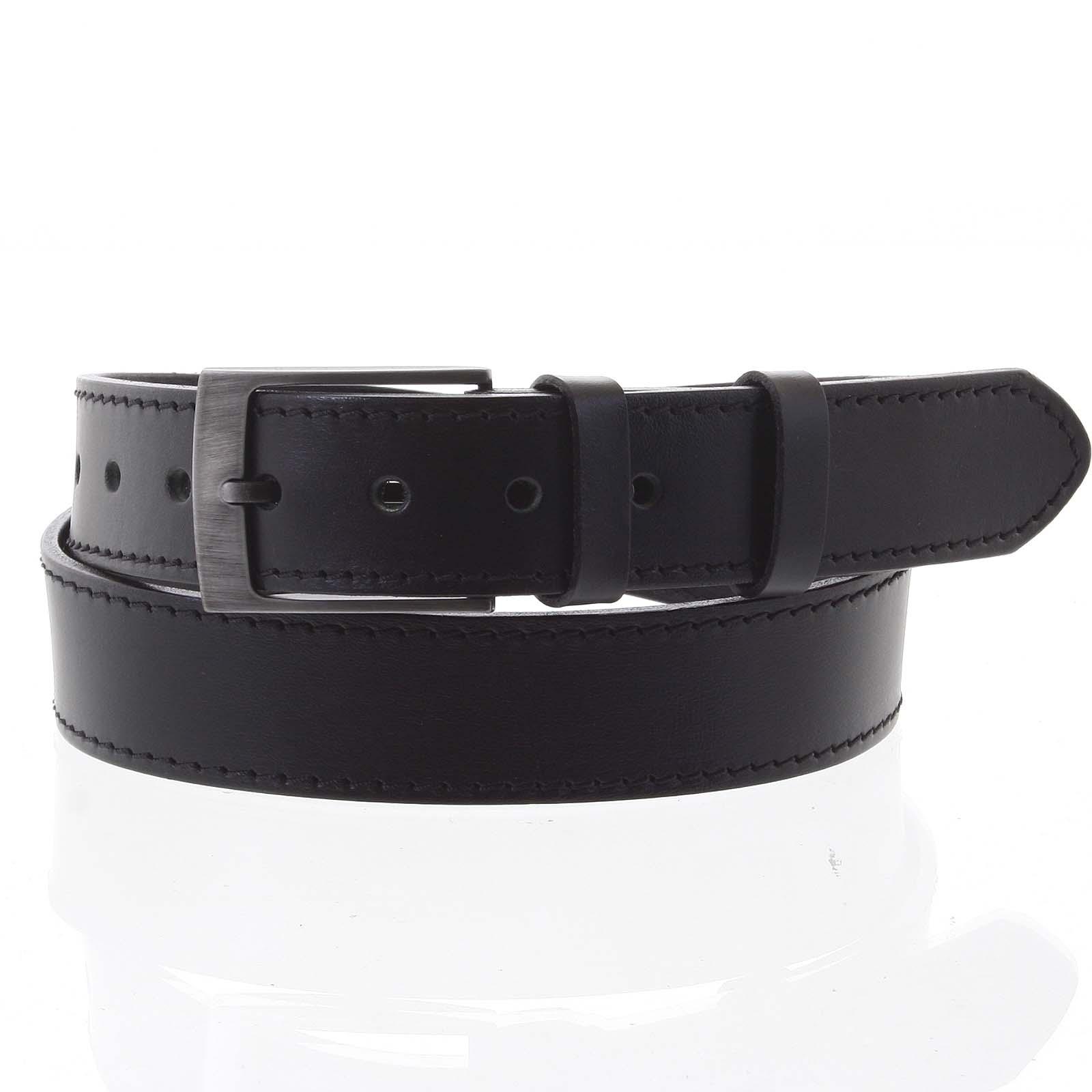 Pánský kožený opasek jeansový černý - PB Meroz 105