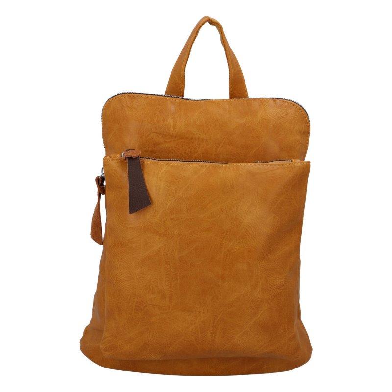 Dámský městský batoh kabelka tmavě žlutý - Paolo Bags Buginni