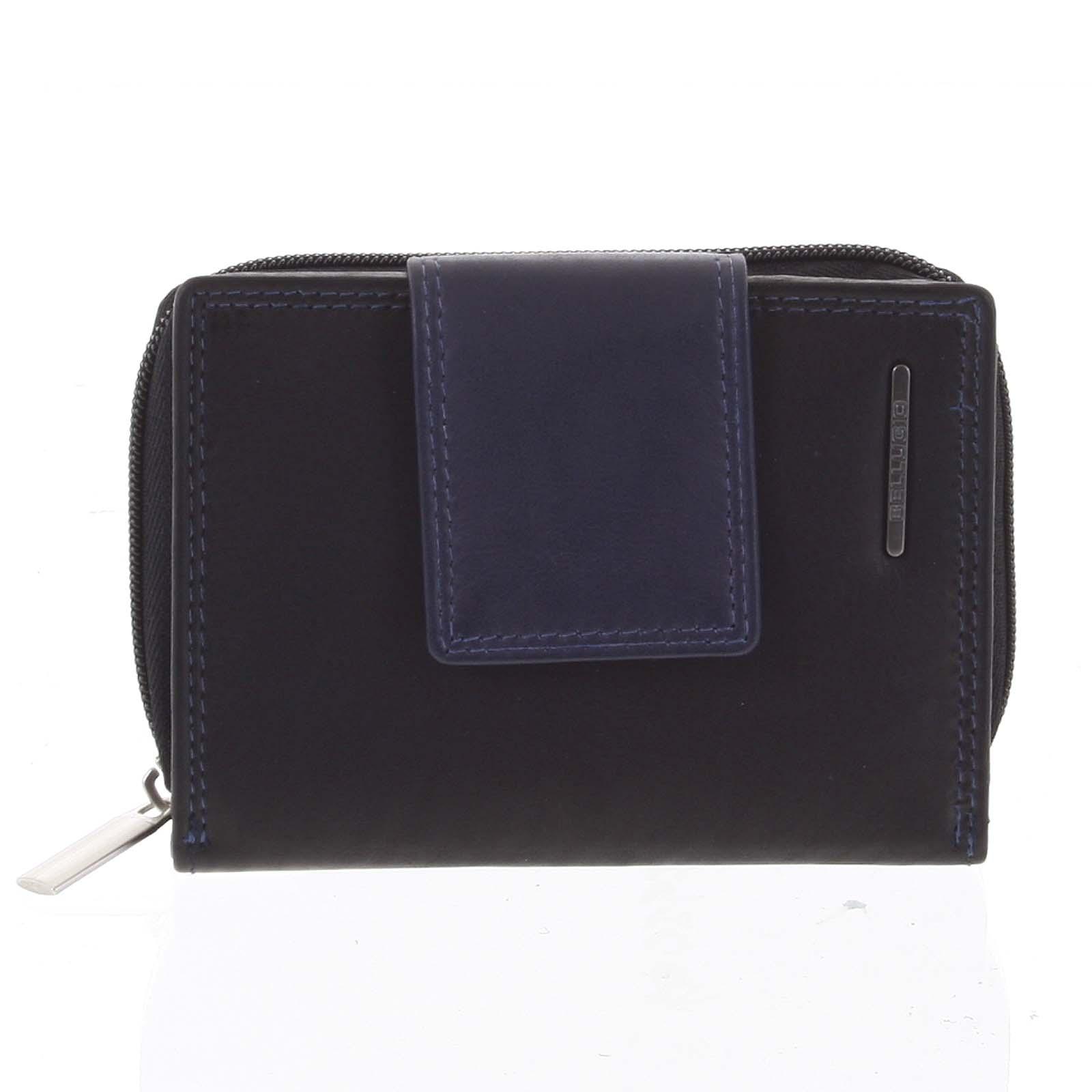Dámská kožená peněženka černo modrá - Bellugio Eurusie