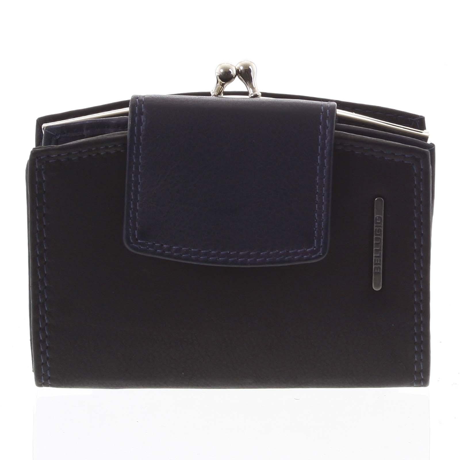 Luxusní dámská kožená peněženka černo modrá - Bellugio Armi