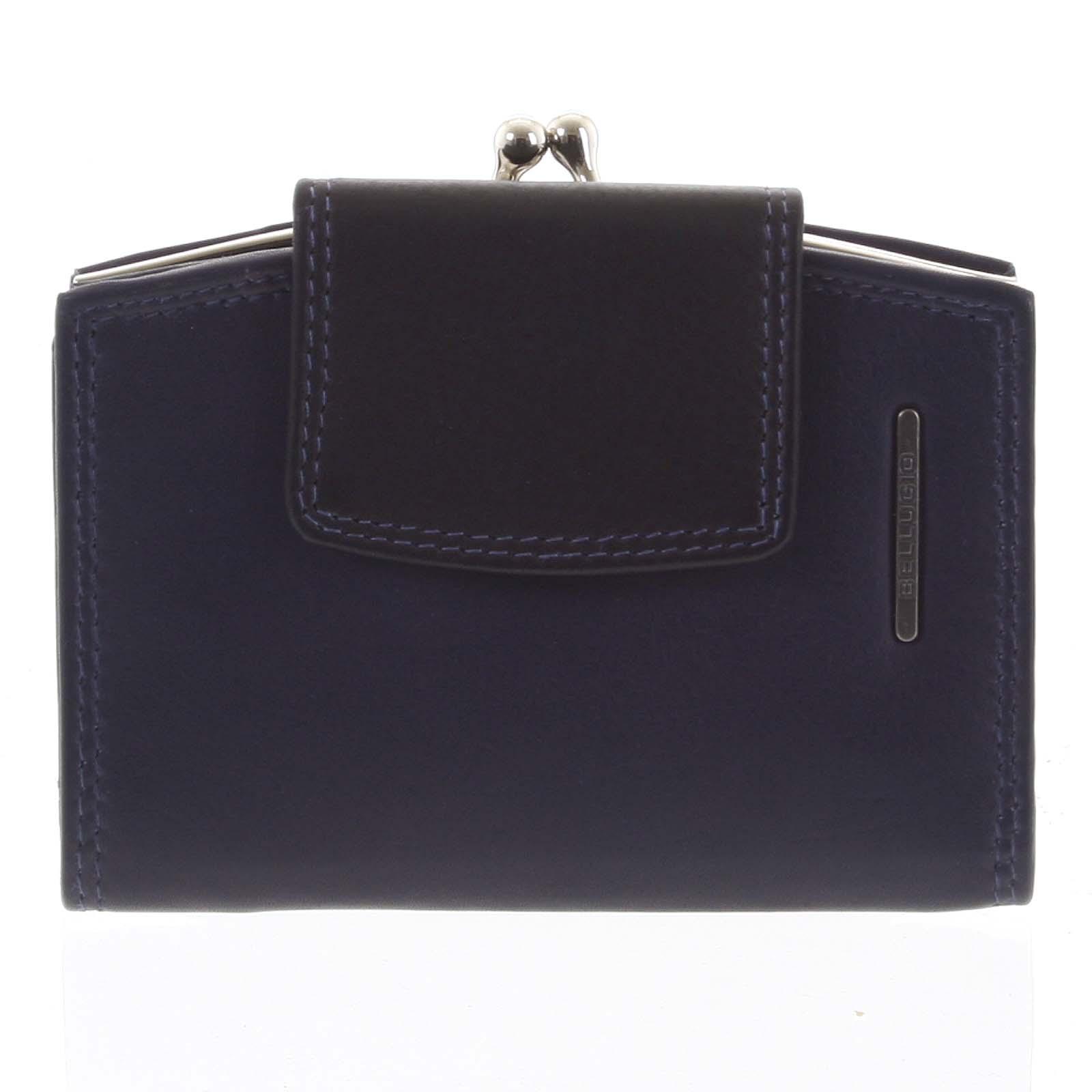 Luxusní dámská kožená peněženka modro černá - Bellugio Armi