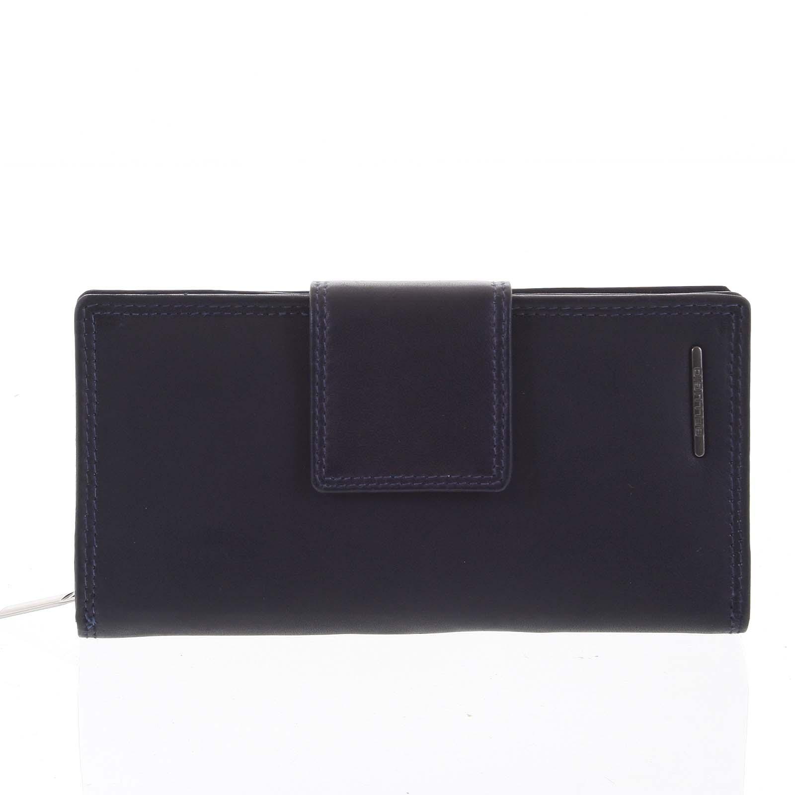 Velká dámská kožená peněženka modrá - Bellugio Glykys