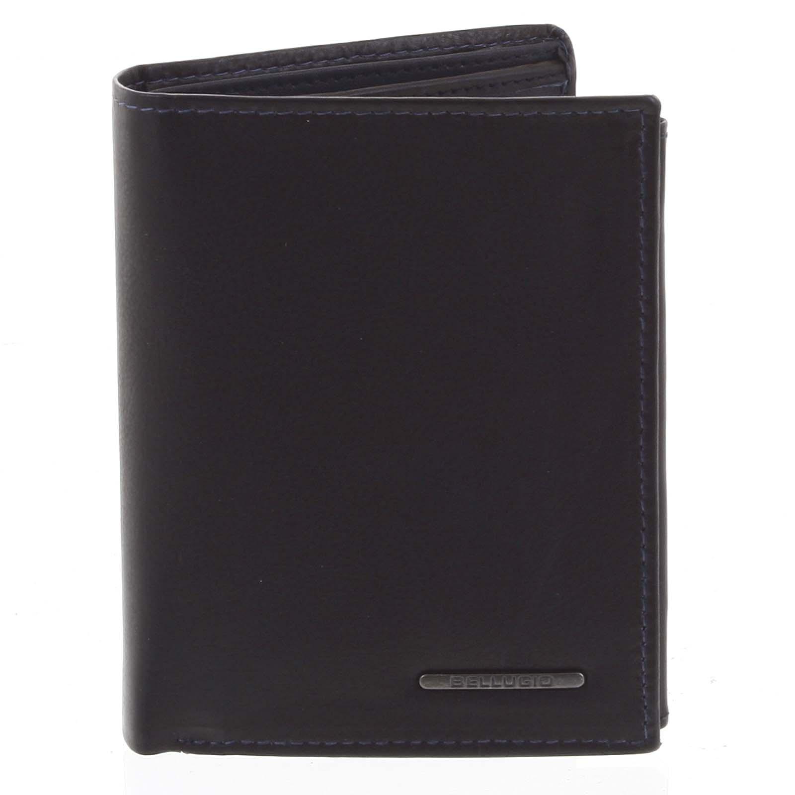 Pánská prošívaná kožená peněženka černo modrá - Bellugio Panagiotis