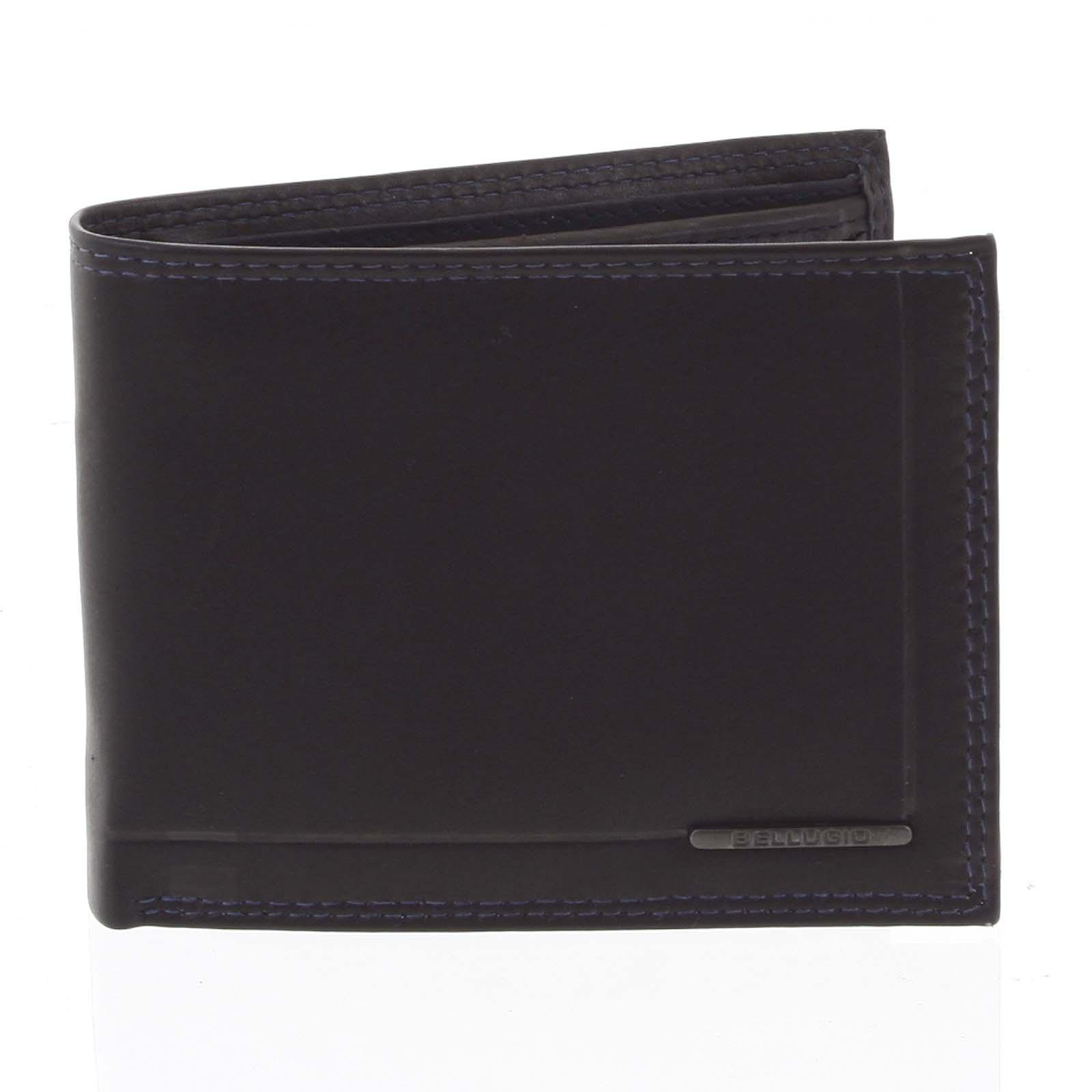 Pánská volná prošívaná peněženka černo modrá - Bellugio Pann