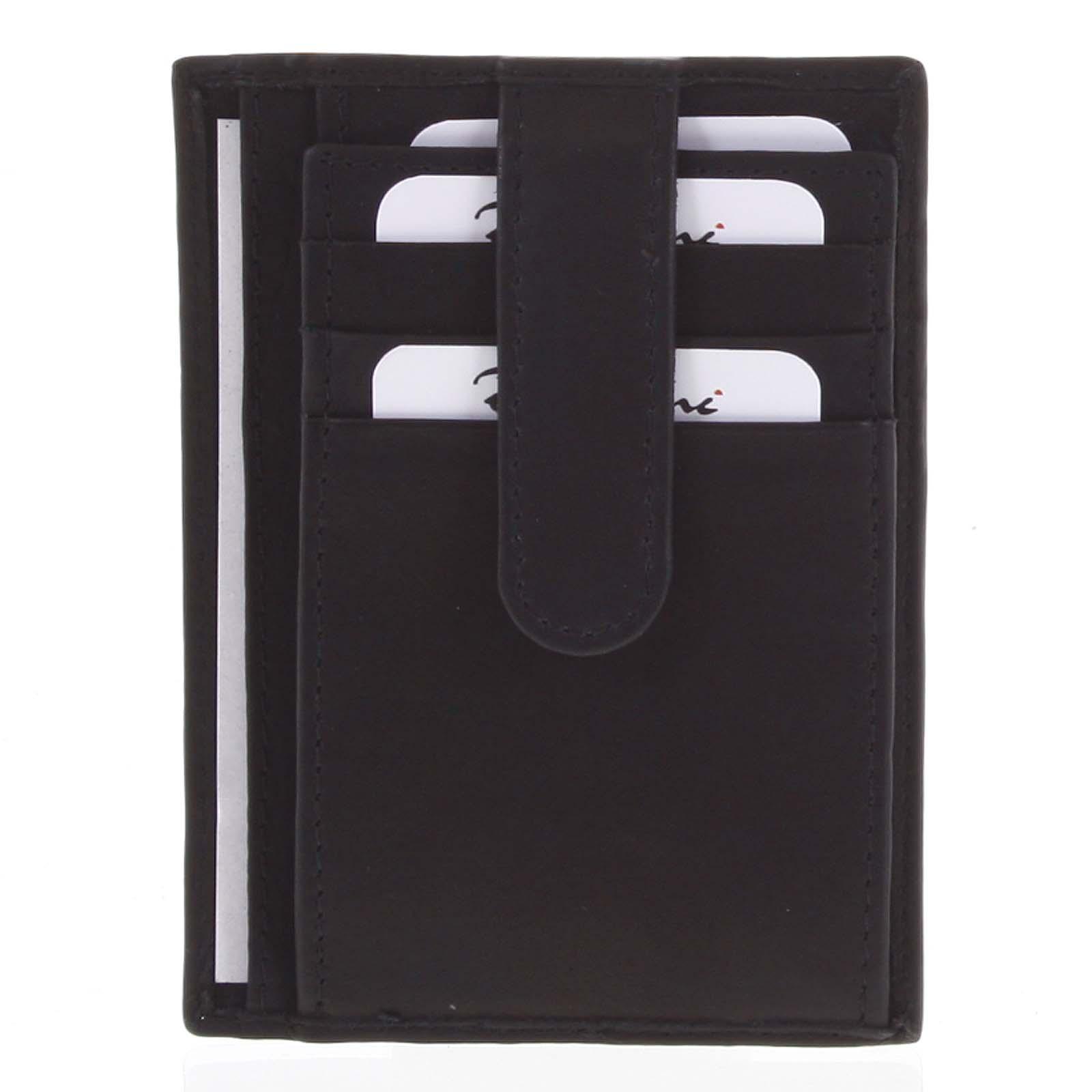 Kožená peněženka do kapsy černá - Delami 3939