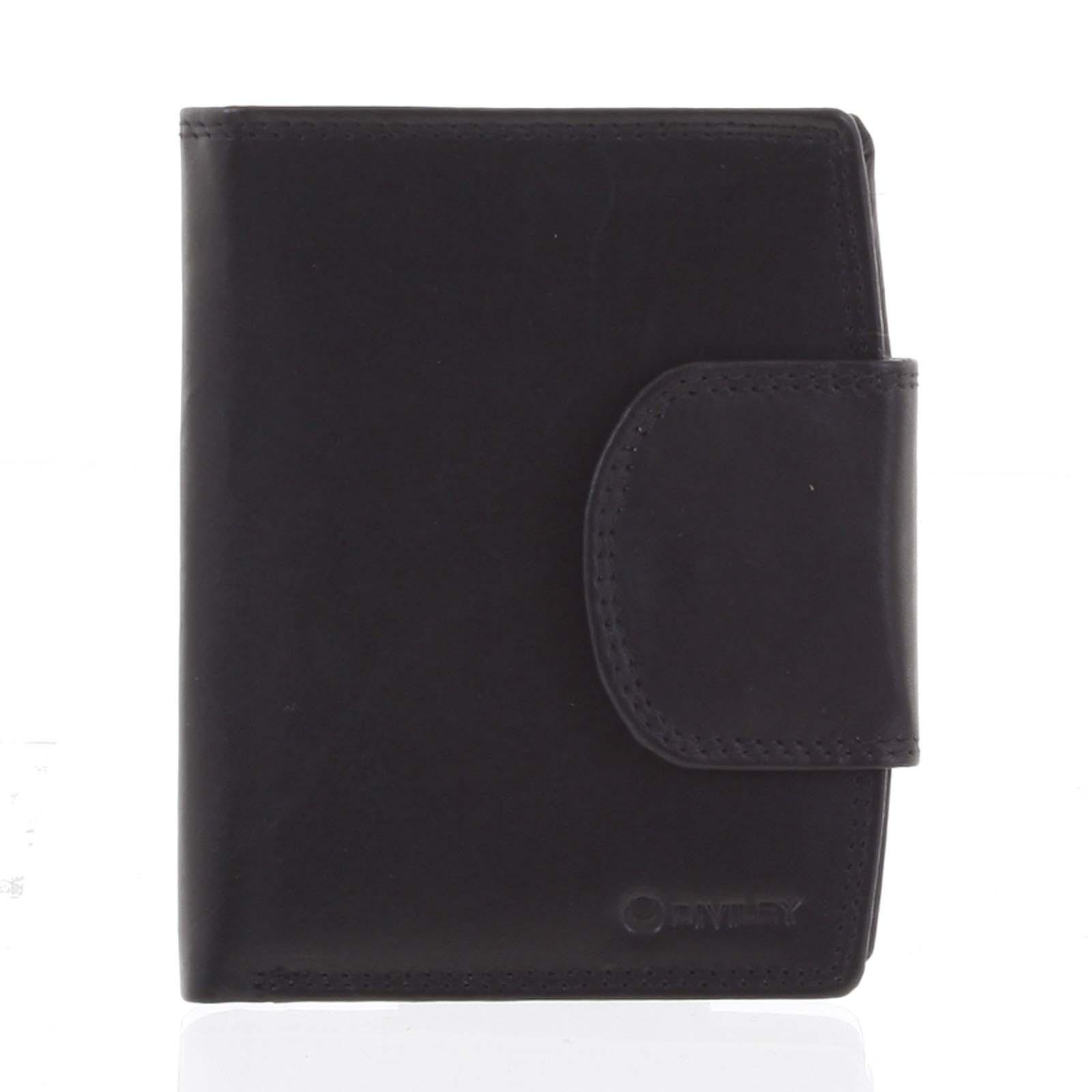 Elegantní černá kožená peněženka se zápinkou - Diviley Universit