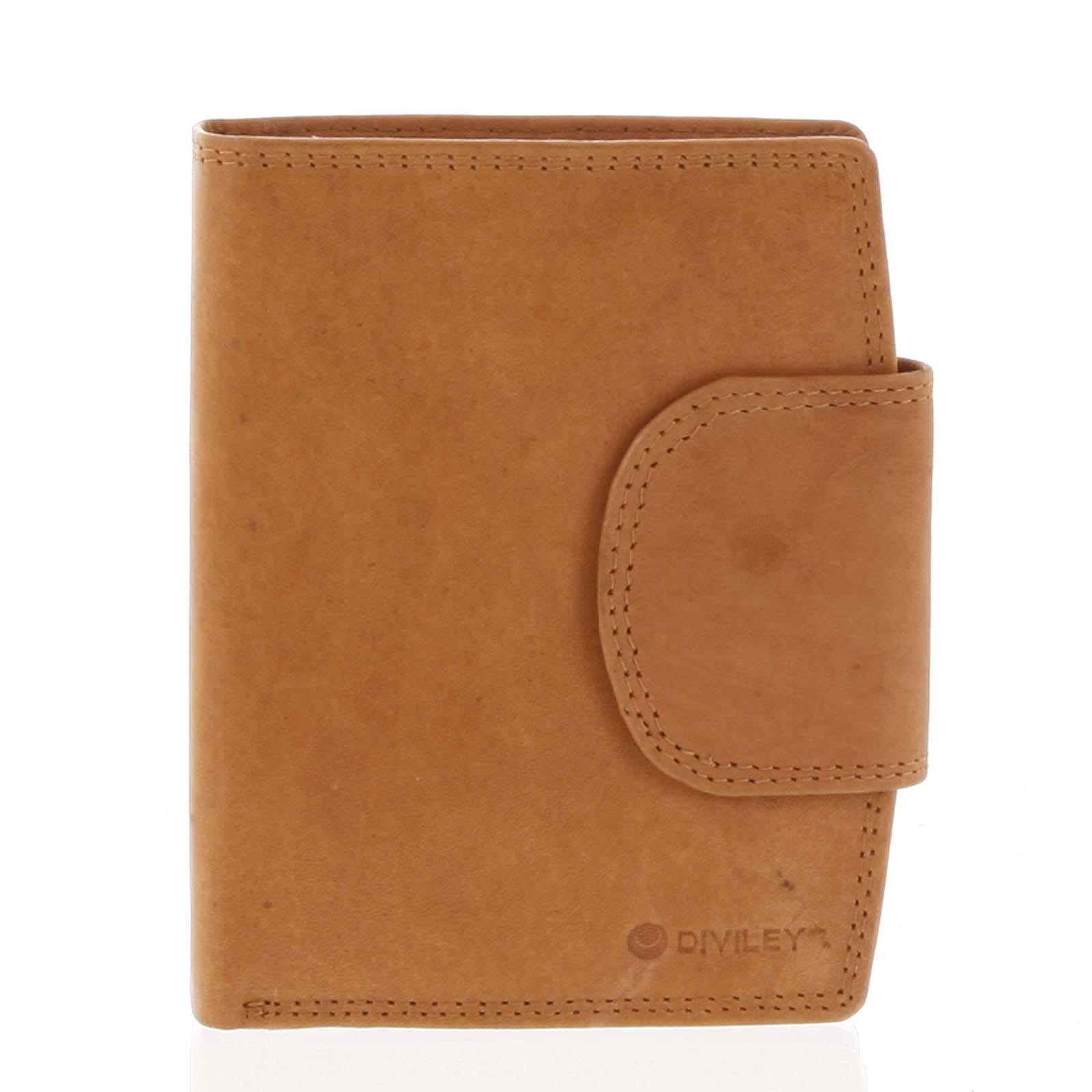 Elegantní koňaková kožená peněženka se zápinkou - Diviley Universit