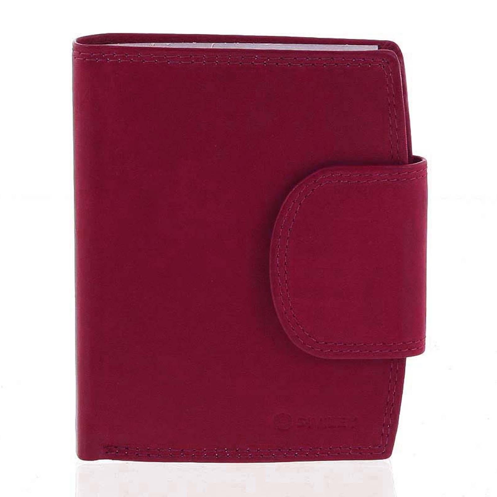 Elegantní červená kožená peněženka se zápinkou - Diviley Universit