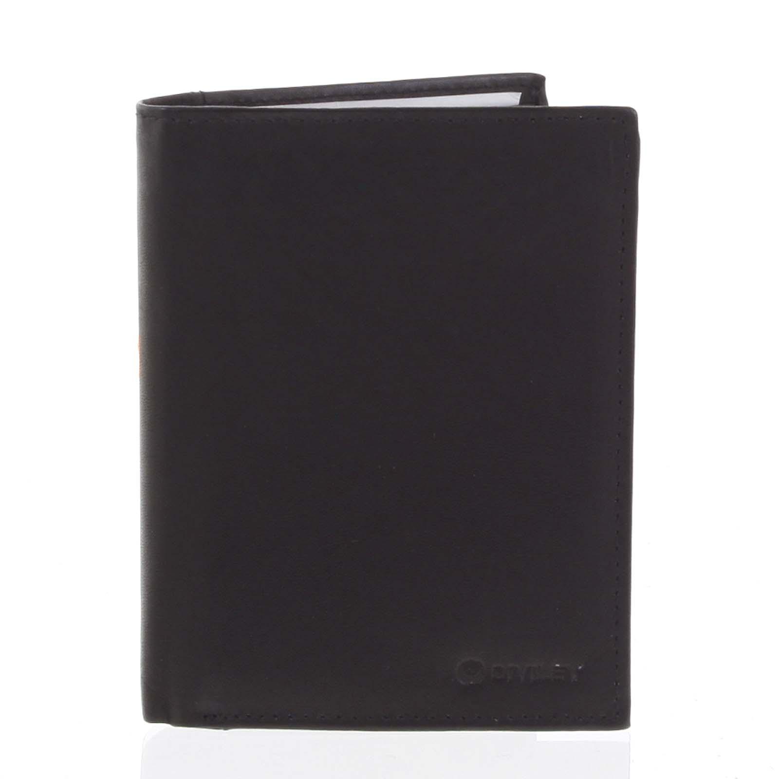 Pánská pevná kožená peněženka černá - Diviley Kainat