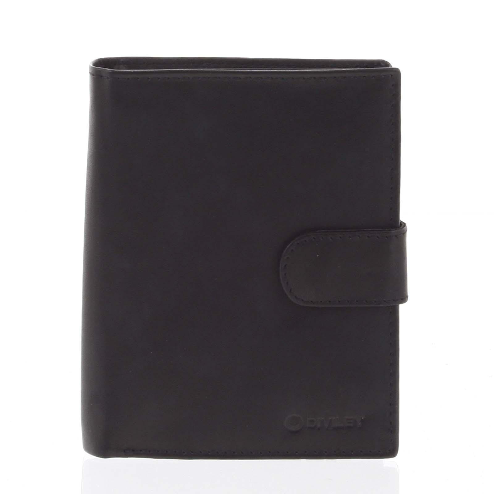 Větší pánská černá kožená peněženka se zápinkou - Diviley Heelal