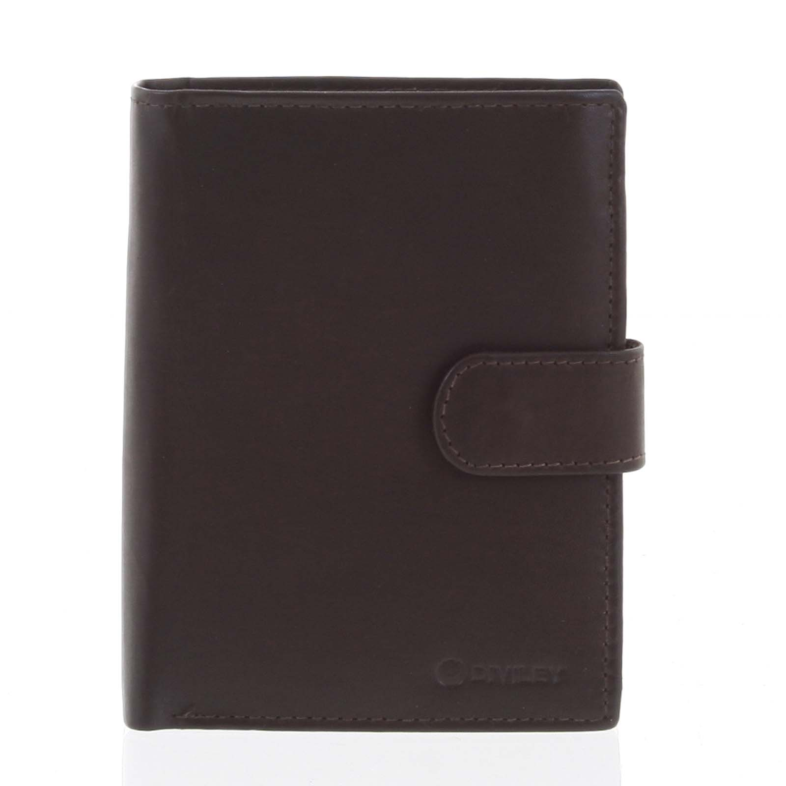 Větší pánská hnědá kožená peněženka se zápinkou - Diviley Heelal