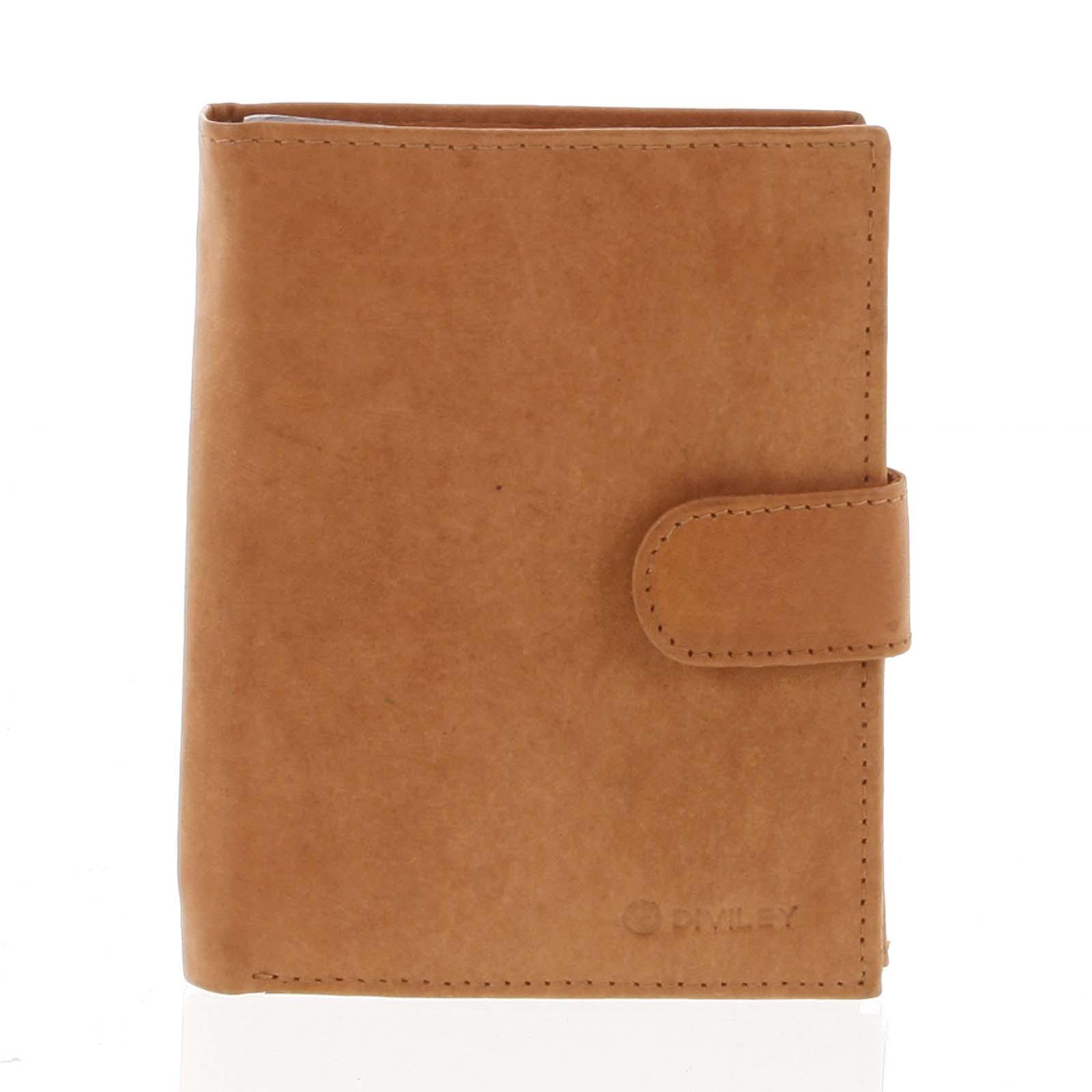 Větší pánská koňaková kožená peněženka se zápinkou - Diviley Heelal