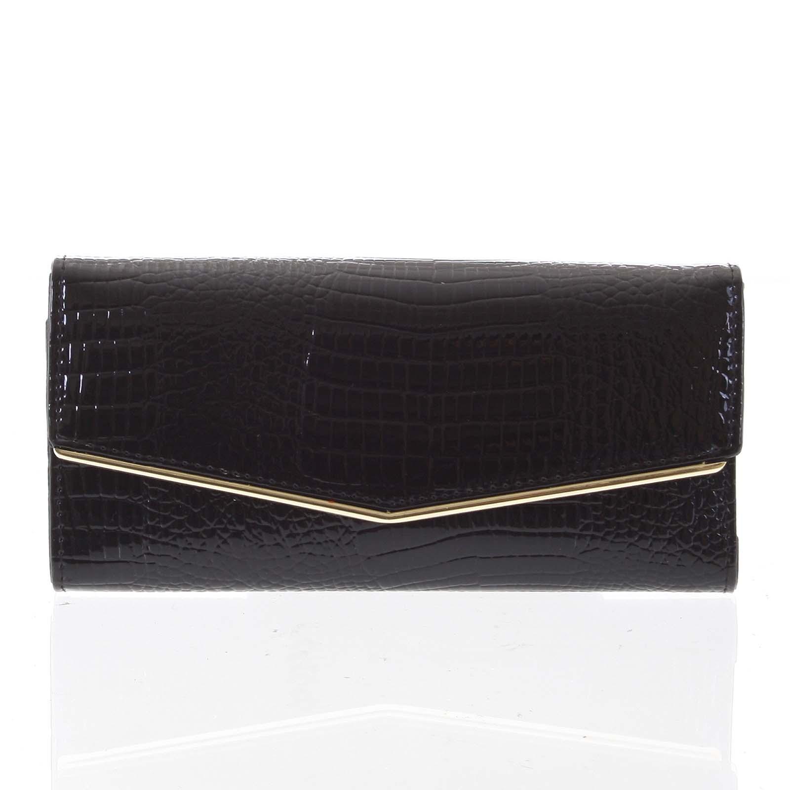 Dámská kožená lakovaná peněženka černá - Loren Aubrey