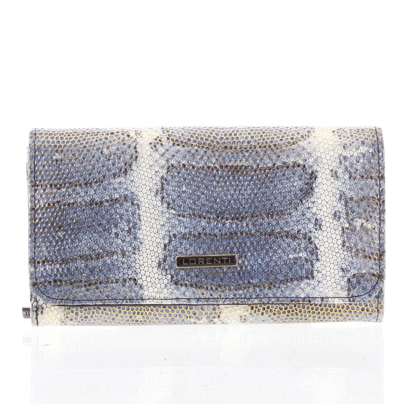 Luxusná hadia kožená modrá peňaženka s odleskom - Lorenti 110SK