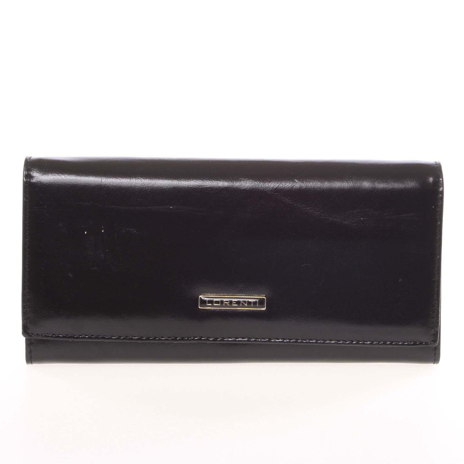 Luxusní hladká kožená černá peněženka - Lorenti 2401N