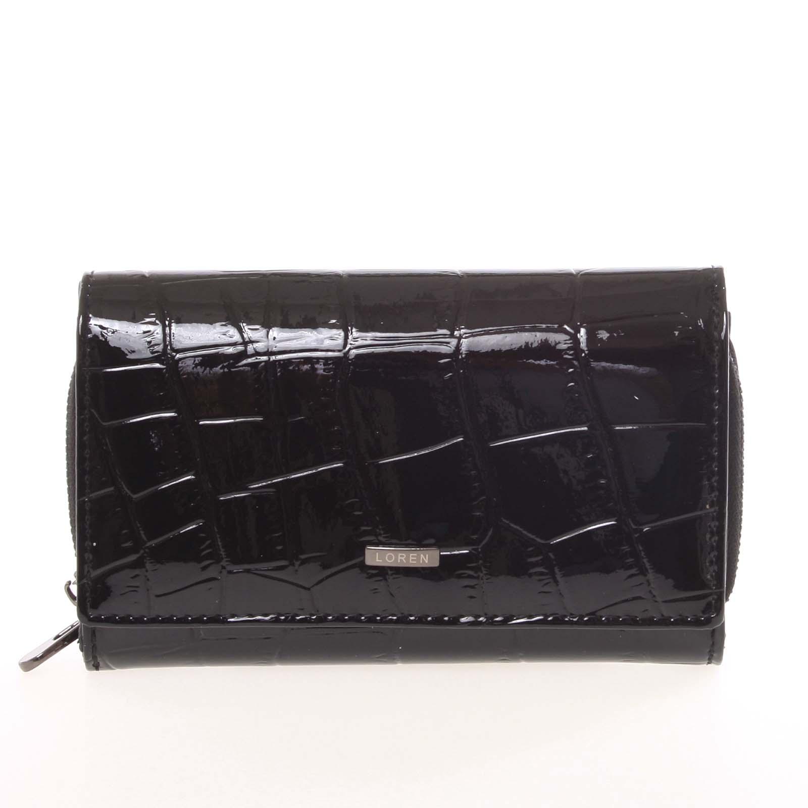 Dámská černá lakovaná kroko peněženka - Loren Cobos
