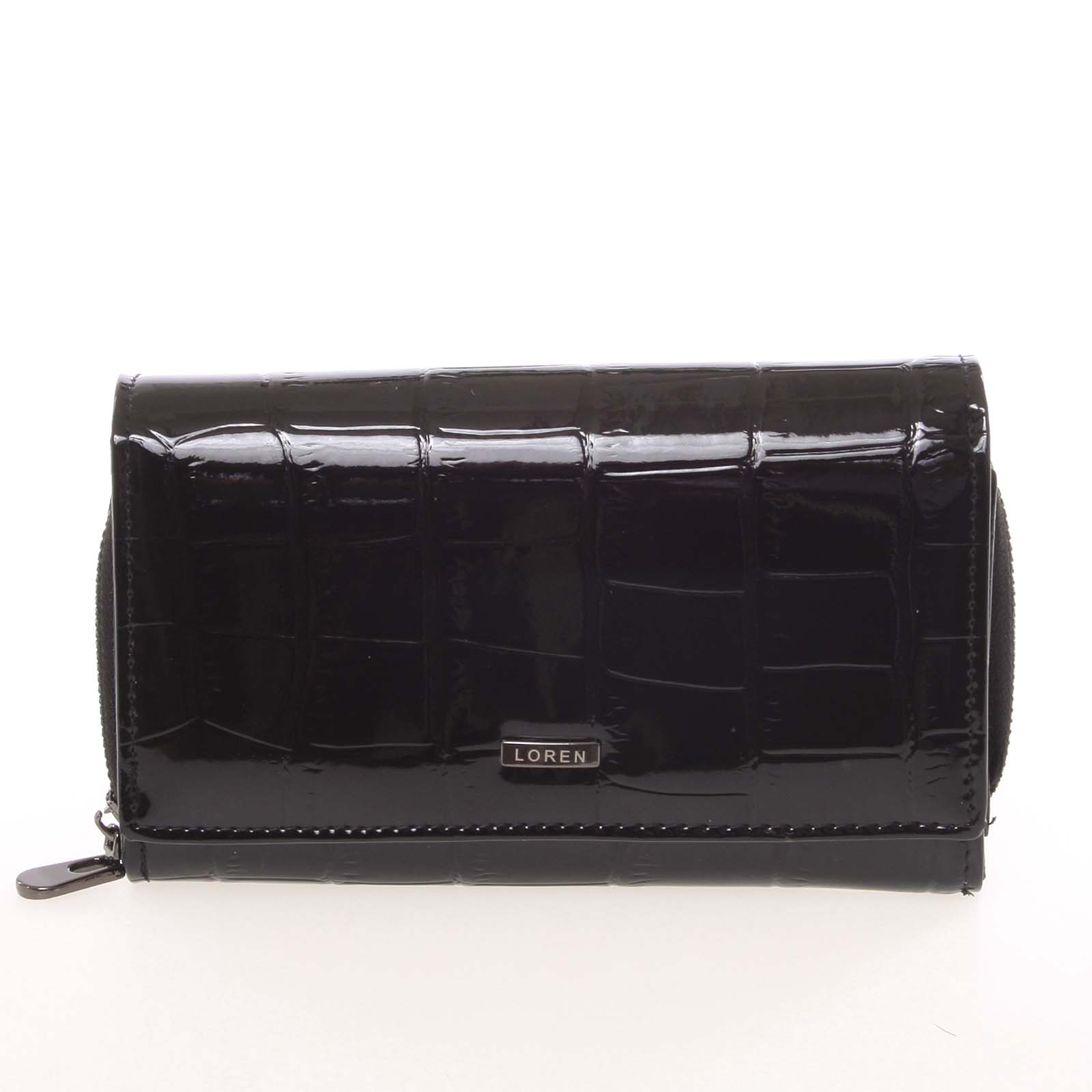 Dámská černá lakovaná kroko peněženka - Loren Cobo