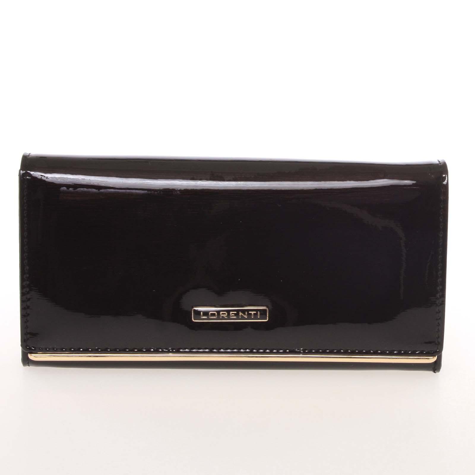 Luxusní lakovaná kožená černá peněženka - Lorenti 64003SH