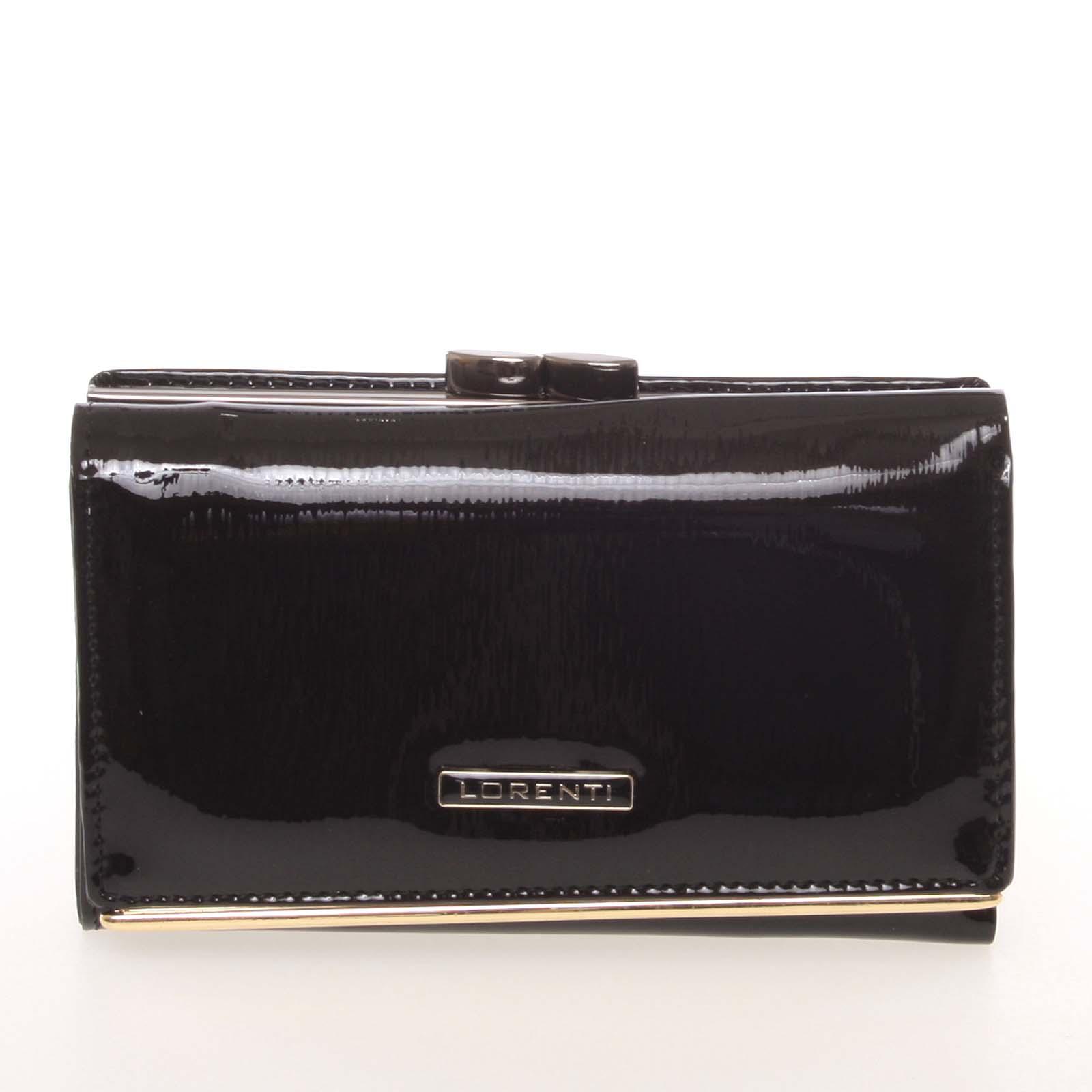 Jedinečná dámská lakovaná kožená peněženka černá - Lorenti 55020SH