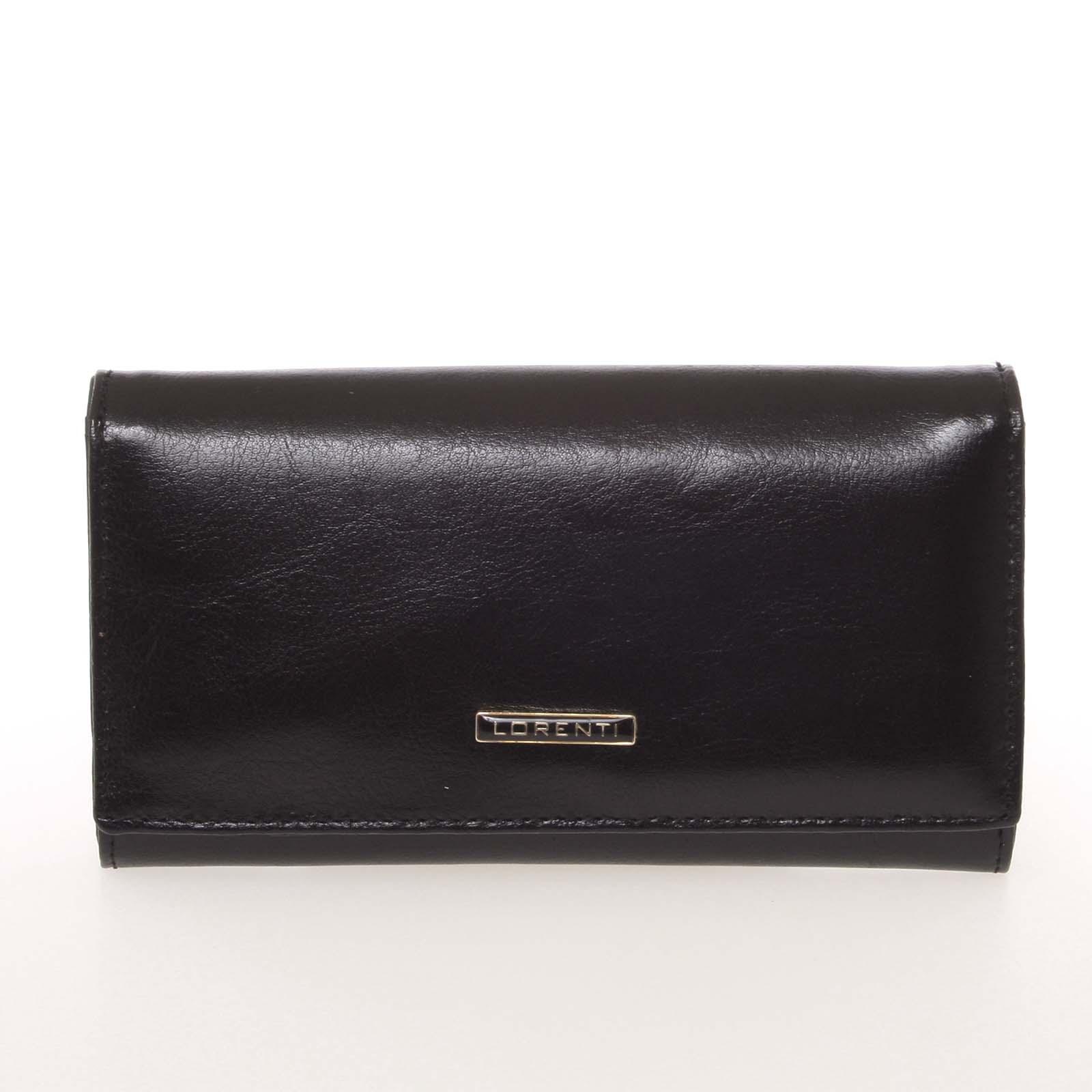 Módní dámská matná kožená peněženka černá - Lorenti GF112SL