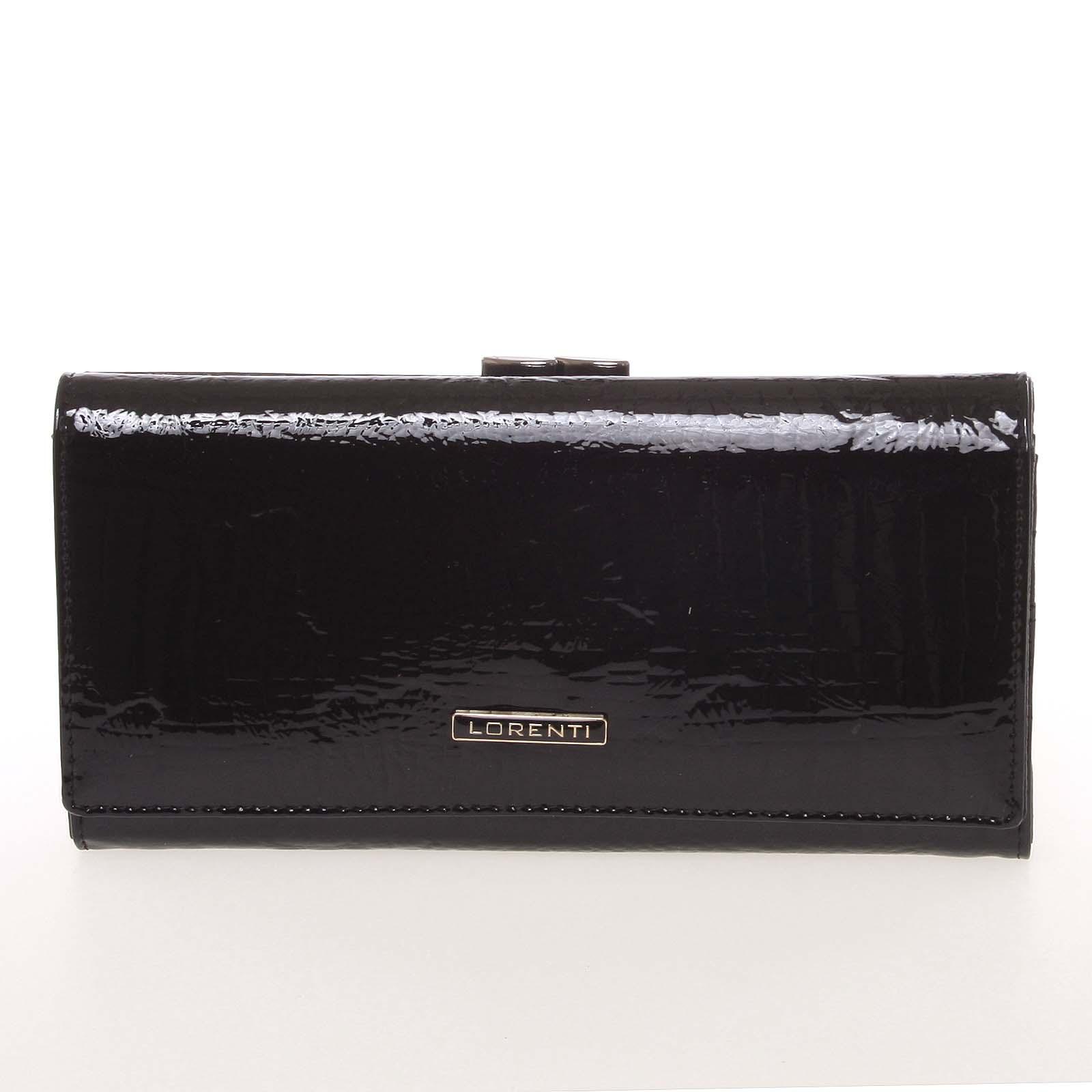 Lakovaná kožená černá peněženka s jemným vzorem - Lorenti 72031RSBF