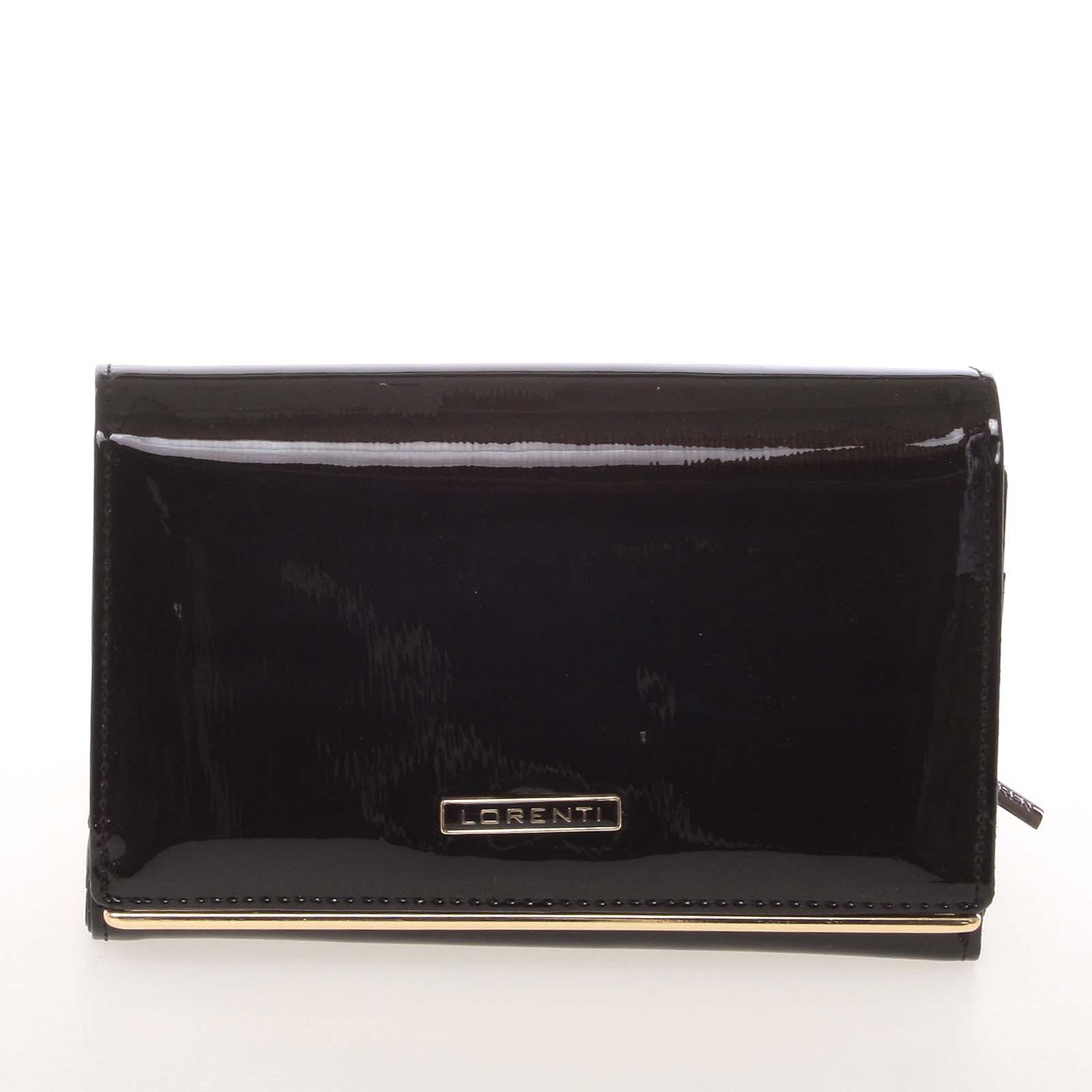 Luxusní kožená lakovaná černá peněženka - Lorenti 4112SH