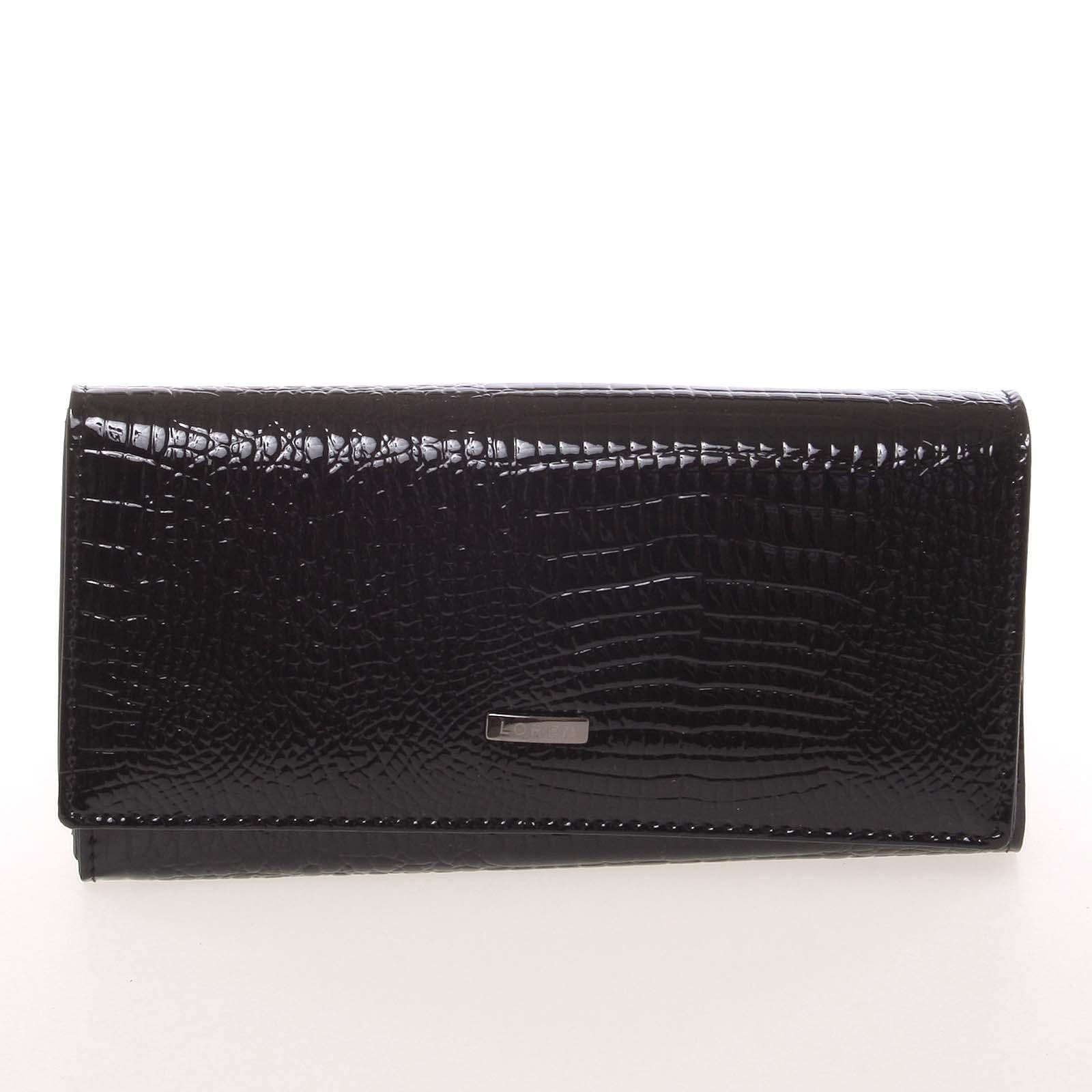 Elegantní lakovaná kožená černá peněženka - Loren 64003RS