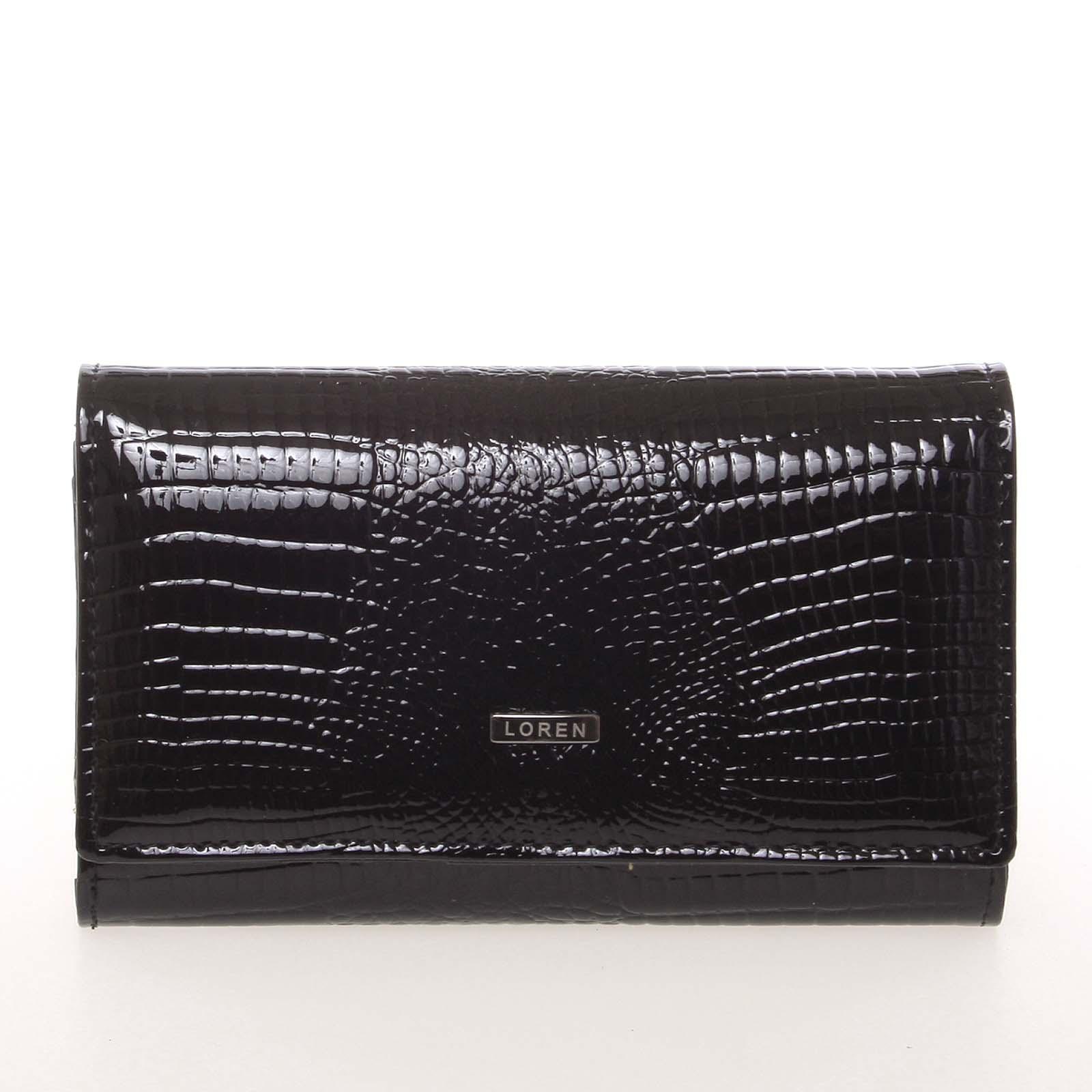 Středně velká lakovaná černá peněženka - Loren 6001RS