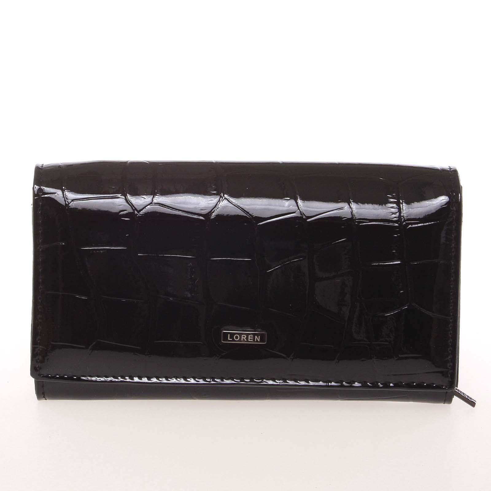 Kožená lakovaná dámská černá peněženka v imitaci krokodýlí kůže - Loren 72035CB