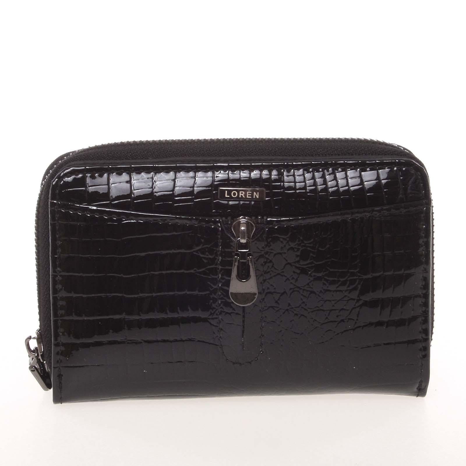 Menší kožená lakovaná dámská peněženka na zip černá - Loren 55025RS