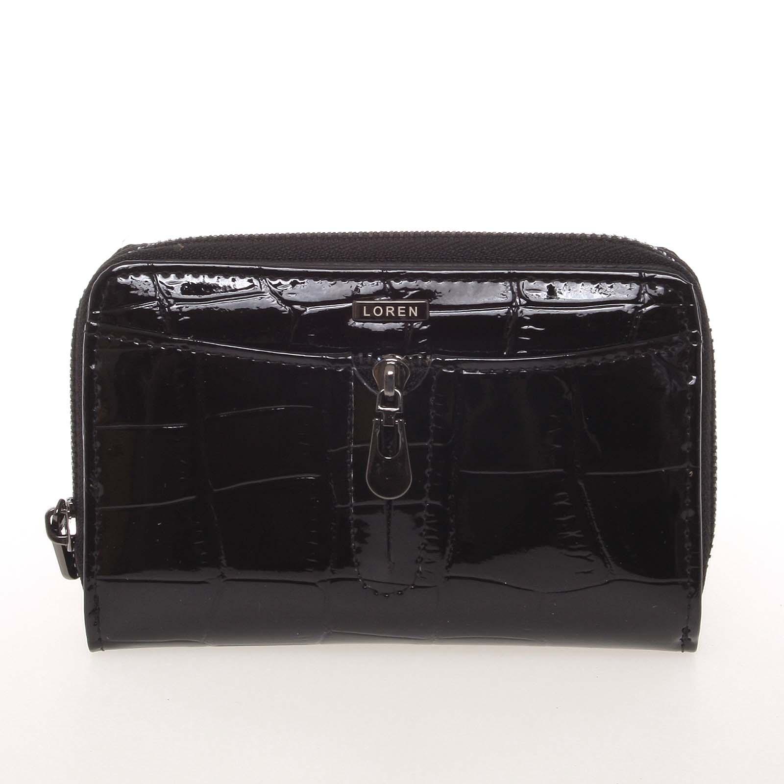 Menší kožená lakovaná dámská peněženka na zip černá - Loren 55025CB